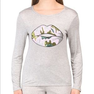 NEW-MELISSA MASSE Top With Sequined Camo Lips